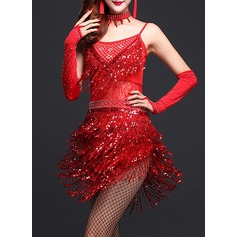 Women's Dancewear Polyester Latin Dance Dresses (115087952)