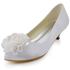 Women's Satin Cone Heel Closed Toe Pumps With Satin Flower