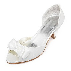 Women's Satin Spool Heel Peep Toe Sandals With Bowknot
