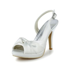Women's Satin Cone Heel Peep Toe With Ruched