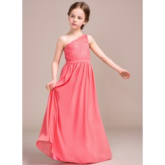 A-Line/Princess One-Shoulder Floor-Length Chiffon Lace Junior Bridesmaid Dress (009081131)