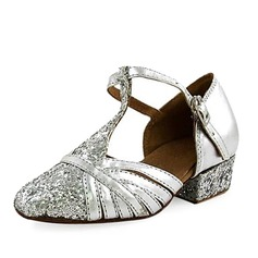 Women's Kids' Leatherette Sparkling Glitter Heels Modern With T-Strap Dance Shoes