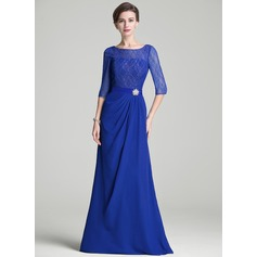 A-Line/Princess Scoop Neck Floor-Length Chiffon Lace Mother of the Bride Dress With Ruffle Crystal Brooch