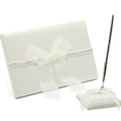 Delicate Faux Pearl/Bow Guestbook & Pen Set