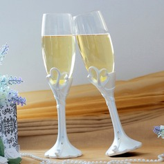 "Double Heart ""Our Moment"" Lead-free Glass Toasting Flutes (Set Of 2) (126032342)"