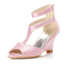Women's Satin Wedge Heel Sandals Wedges With Buckle Rhinestone