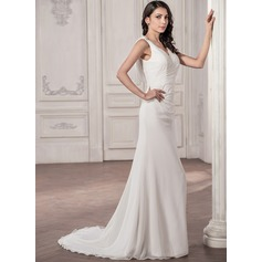 Trumpet/Mermaid V-neck Court Train Chiffon Wedding Dress With Ruffle Bow(s)