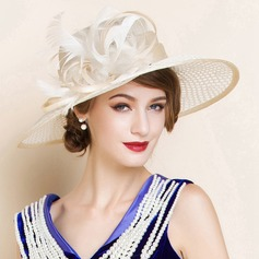 Ladies' Beautiful Summer Cambric With Feather Bowler/Cloche Hat (196075547)