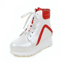 Women's Patent Leather Low Heel Boots With Ribbon Tie shoes
