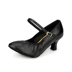 Women's Real Leather Heels Pumps Modern With Buckle Dance Shoes