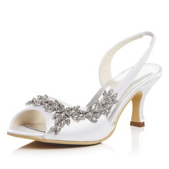 Women's Satin Spool Heel Pumps Sandals With Rhinestone