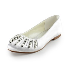 Women's Satin Flat Heel Closed Toe Flats With Beading Imitation Pearl