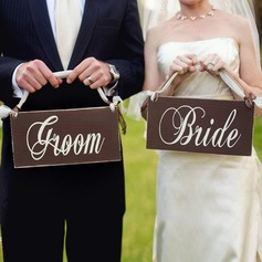Bride and Groom Wooden Wedding Sign (set of 2) (131103617)