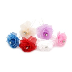 Beautiful Alloy/Artificial Silk Hairpins (Set of 3)