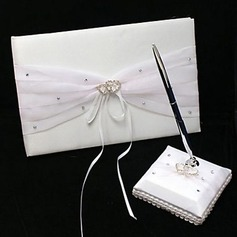 Wedding Guest Book and Pen Set in White Satin With Rhinestone Accents(101018137)