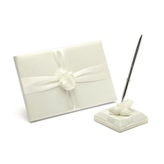 Simple Satin Ribbons Guestbook/Pen Set