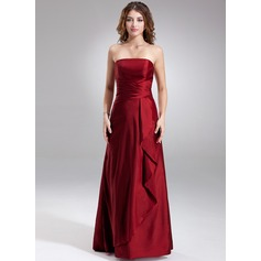 Sheath/Column Strapless Floor-Length Taffeta Bridesmaid Dress With Cascading Ruffles
