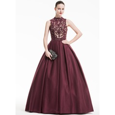 Ball-Gown High Neck Floor-Length Tulle Lace Evening Dress With Ruffle Beading Sequins (017074931)