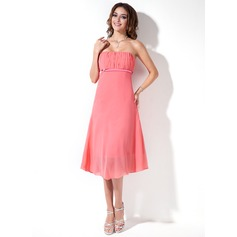 Empire Strapless Asymmetrical Chiffon Bridesmaid Dress With Ruffle Beading