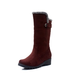 Suede Wedge Heel Wedges Mid-Calf Boots Snow Boots With Buckle Fur shoes