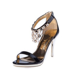 Women's Leatherette Stiletto Heel Sandals With Rhinestone shoes
