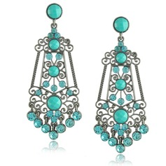 Shining Alloy Rhinestones Imitation Turquoise Ladies' Fashion Earrings