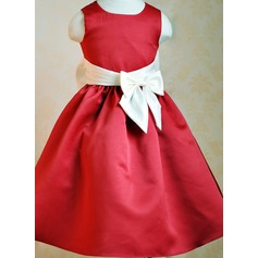 A-Line/Princess Ankle-length Flower Girl Dress - Organza/Tribute silk Sleeveless Scoop Neck With Bow(s)