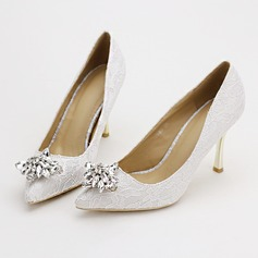 Women's Lace Stiletto Heel Pumps With Crystal