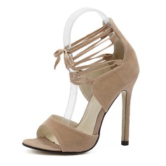Women's Suede Stiletto Heel Sandals Peep Toe With Ribbon Tie shoes