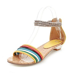 Leatherette Low Heel Sandals With Beading (087014122)