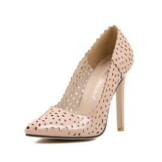 Leatherette Stiletto Heel Pumps Closed Toe With Hollow-out shoes