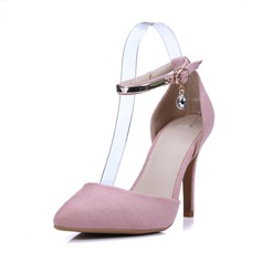 Women's Leatherette Stiletto Heel Closed Toe Pumps With Buckle