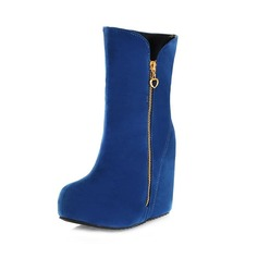 Suede Wedge Heel Wedges Ankle Boots With Zipper shoes
