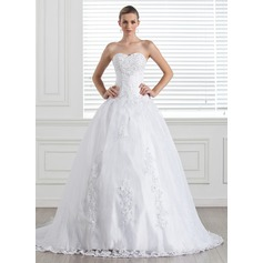 Ball-Gown Sweetheart Court Train Satin Organza Wedding Dress With Beading Appliques Lace Sequins