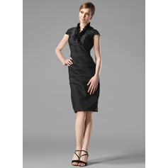 Sheath/Column V-neck Knee-Length Taffeta Holiday Dress With Ruffle (020003292)