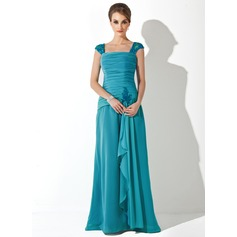 A-Line/Princess Square Neckline Floor-Length Chiffon Mother of the Bride Dress With Lace Beading Cascading Ruffles