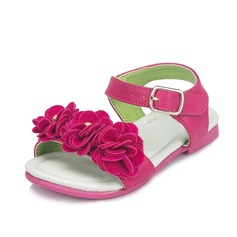 Women's Leatherette Flat Heel Flats Peep Toe With Flower