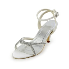 Satin Cone Heel Slingbacks Sandals Wedding Shoes With Rhinestone (047026401)
