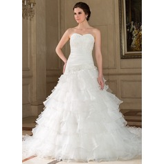 A-Line/Princess Sweetheart Chapel Train Tulle Wedding Dress With Lace Beading Sequins Cascading Ruffles