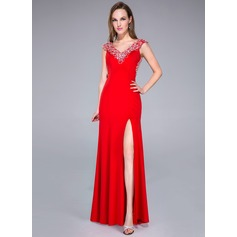 Trumpet/Mermaid V-neck Sweep Train Jersey Prom Dress With Beading Split Front