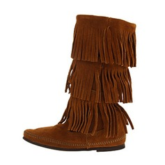 Women's Suede Flats Boots With Tassel shoes
