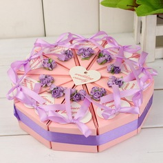 Pyramid Favor Boxes With Flowers Ribbons (Set of 10)