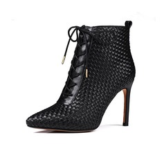 Women's Real Leather Stiletto Heel Ankle Boots Martin Boots With Braided Strap shoes