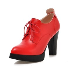 Women's Leatherette Chunky Heel Ankle Boots With Lace-up shoes