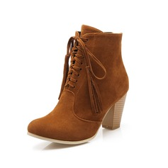 Women's Suede Chunky Heel Ankle Boots Martin Boots With Tassel Braided Strap shoes