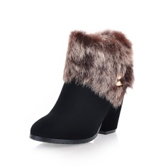 Real Leather Chunky Heel Ankle Boots Snow Boots With Buckle Zipper Fur shoes