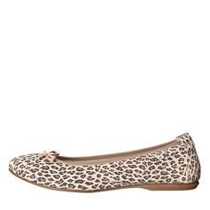 Girl's Leatherette Flat Heel Round Toe Flats With Animal Print