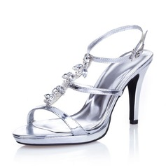 Women's Leatherette Stiletto Heel Pumps Sandals With Buckle Rhinestone (085042056)