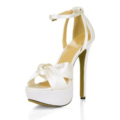 Silk Like Satin Stiletto Heel Platform Sandals Wedding Shoes With Buckle Rhinestone (047016977)