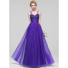 A-Line/Princess Sweetheart Floor-Length Tulle Bridesmaid Dress With Beading Sequins
